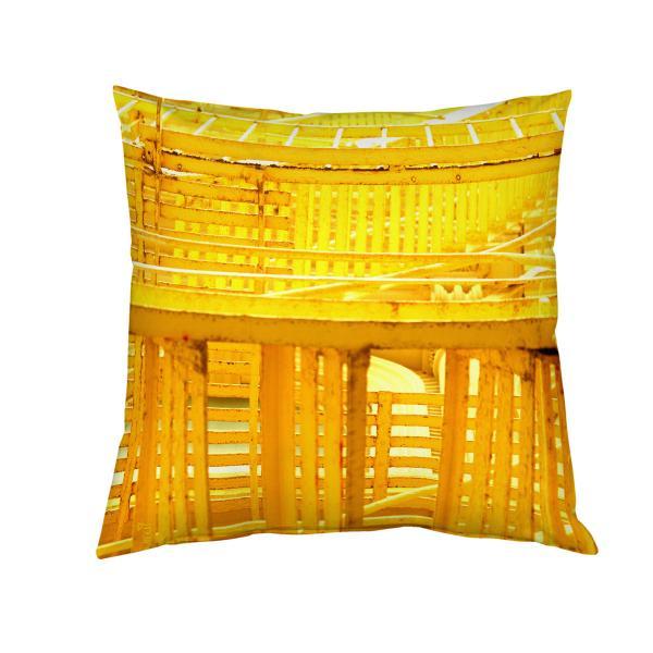 Coussin graphique et urbain jaune