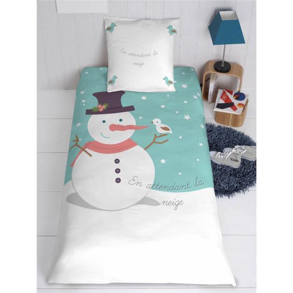 Parure de lit (housse+oreiller) personnalisé Bonhomme de neige et son