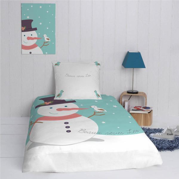 parure de lit housse oreiller personnalis bonhomme de neige et son decodeo. Black Bedroom Furniture Sets. Home Design Ideas