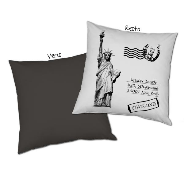 Coussin carte postale New-York personnalisable