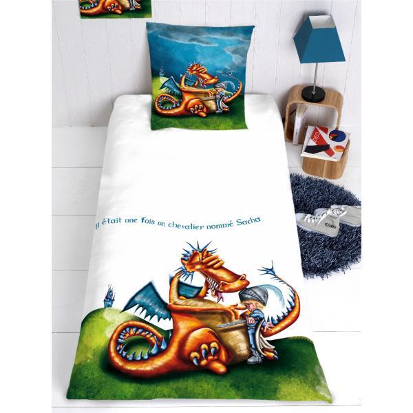 Housse de couette chevalier et dragon personnalisable