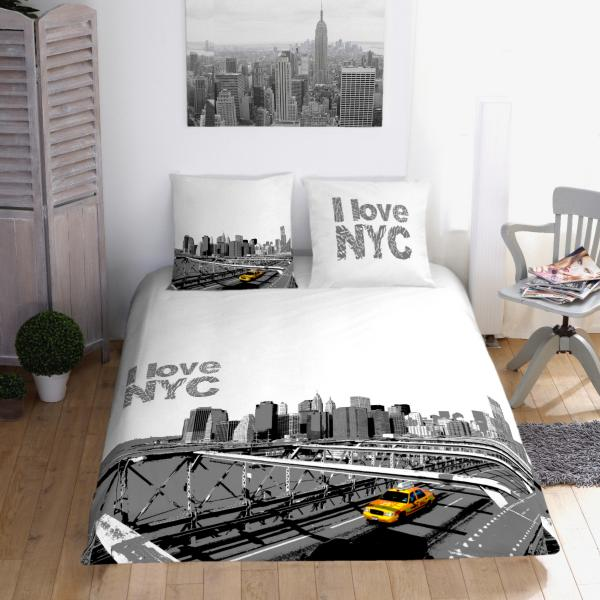 housse de couette taxi jaune de new york personnalisable decodeo. Black Bedroom Furniture Sets. Home Design Ideas