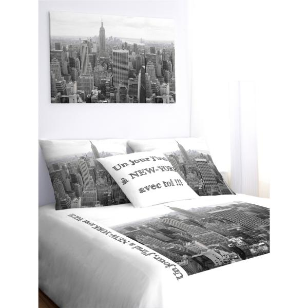 housse de couette new york noir et blanc personnaliser. Black Bedroom Furniture Sets. Home Design Ideas