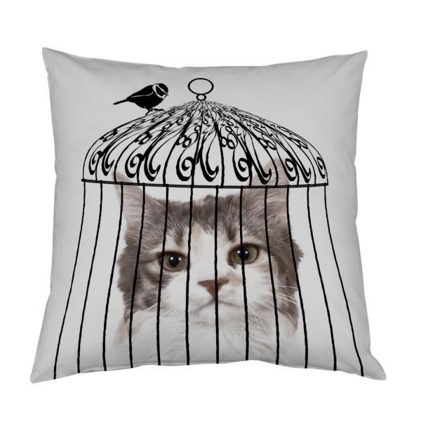Coussin oiseau en cage