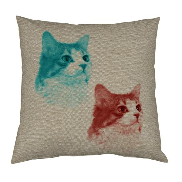 Coussin duo de chats pop art