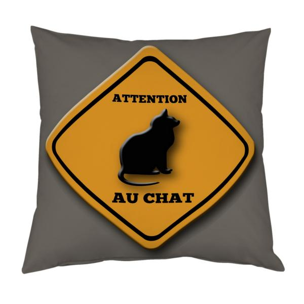 Coussin road sign chat personnalisable
