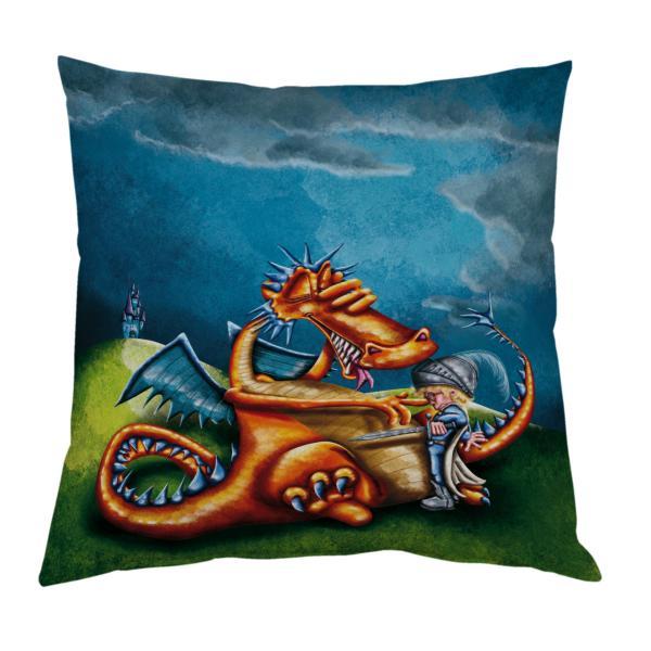Coussin Dragon et chevalier