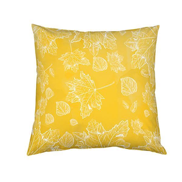 Coussin feuilles sur fond jaune