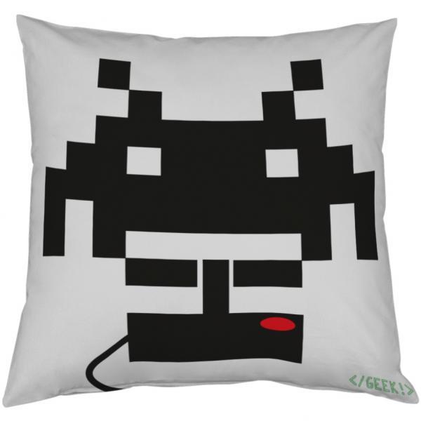 Coussin Geek - Space invader et Pad noir et blanc