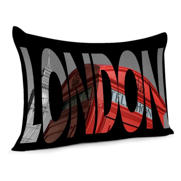 Coussin Londres Noir et rouge
