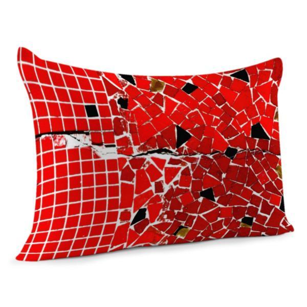 Coussin mosaïque rouge