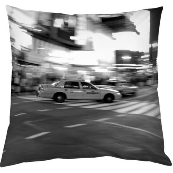 Coussin Taxi à New-York Noir et Blanc