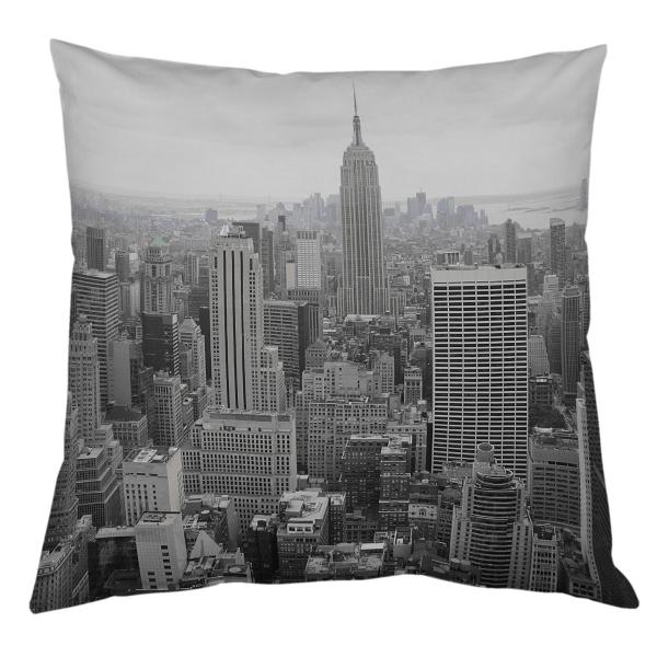 coussin vue du haut de l 39 empire state building noir et blanc decodeo. Black Bedroom Furniture Sets. Home Design Ideas