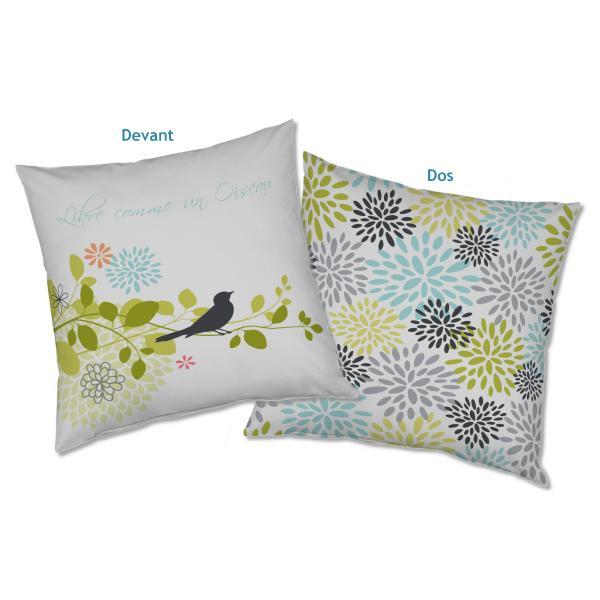 Coussin personnalisable fleurs et oiseau