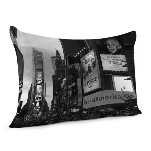 coussin time square en noir et blanc decodeo. Black Bedroom Furniture Sets. Home Design Ideas