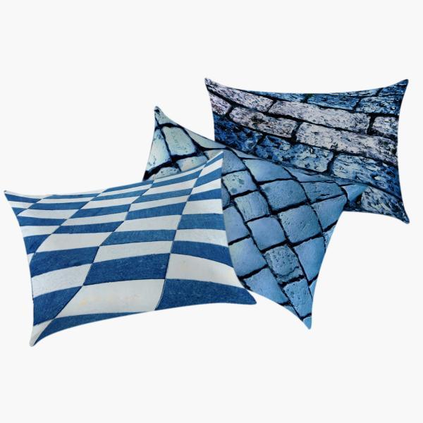 Coussins pavés bleus