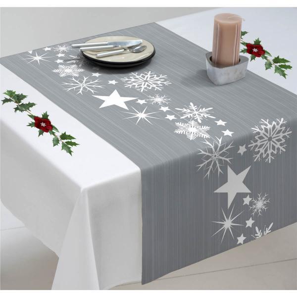 Chemin de table Noël étoiles blanches sur fond argenté
