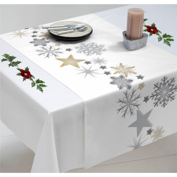 Chemin de table Noël étoiles or et argent