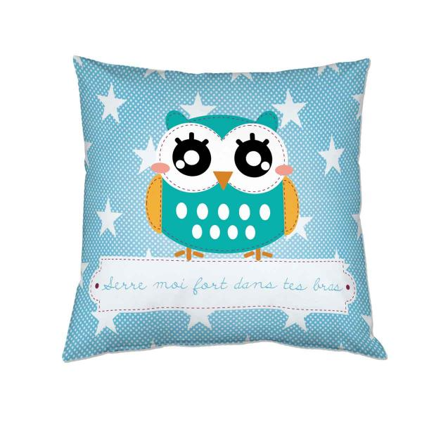 Coussin-noel-personnalise-hibou
