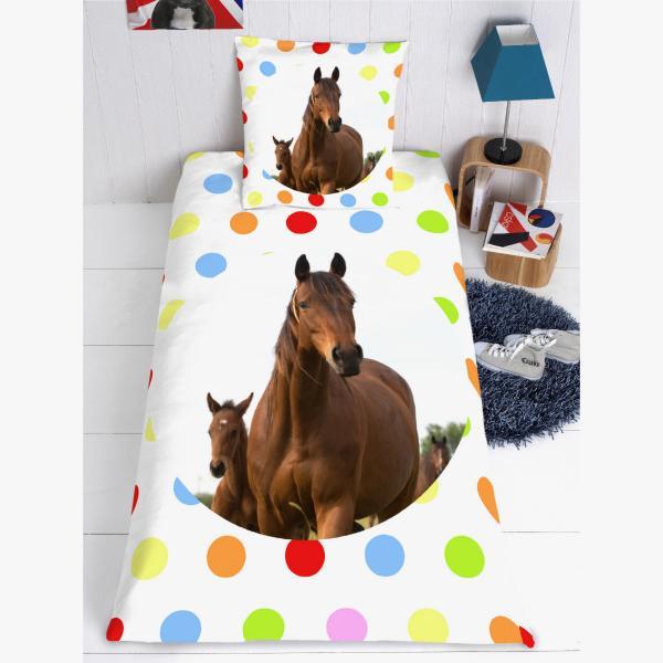 Impression photo sur couette motif pois decodeo - Housse de couette cheval ...