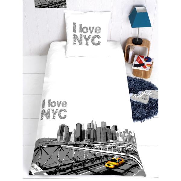 HOUSSE-de-couette-new-york noir et blanc