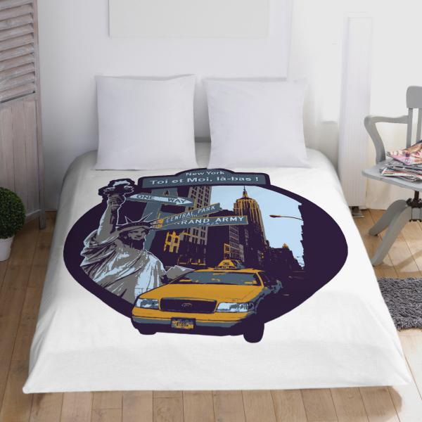 housse de couette 2 taies new york taxi quotes. Black Bedroom Furniture Sets. Home Design Ideas