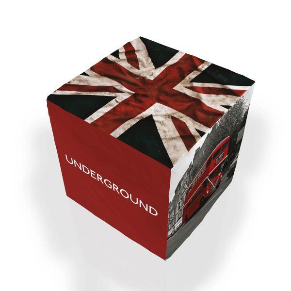 Pouf cubique Londres rouge
