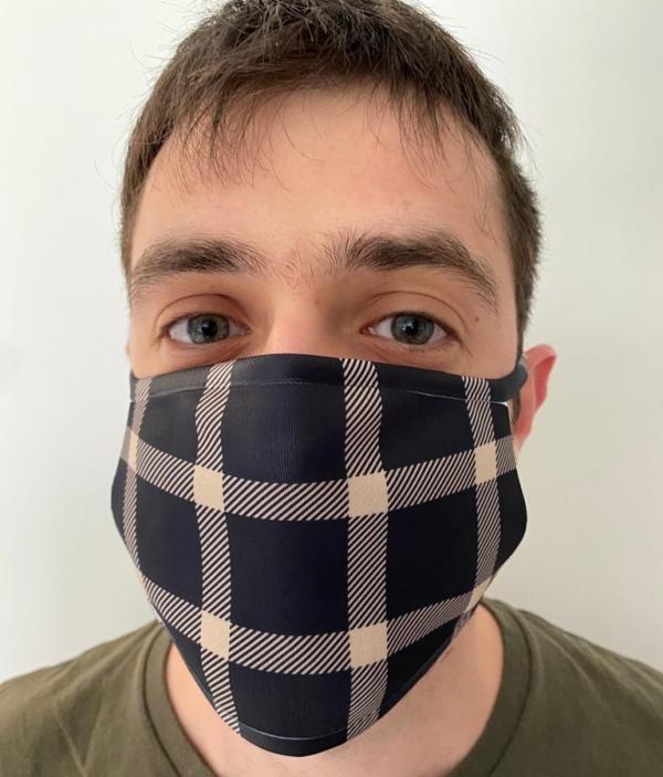 Masque en tissu lavable et réutilisable LUMBERJACK BLEU
