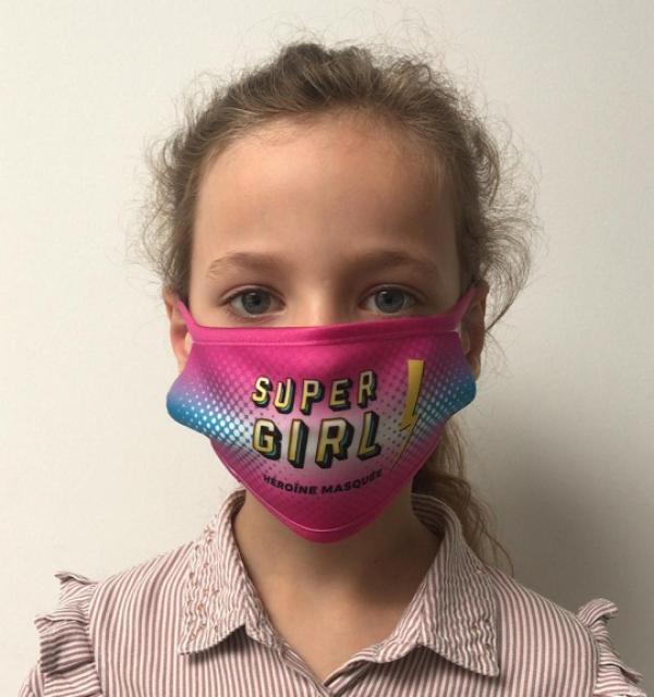 Masque en tissu lavable et réutilisable SUPER GIRL