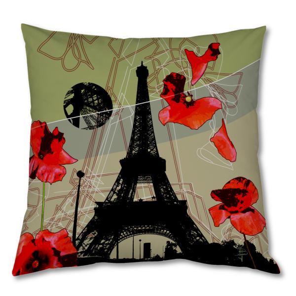 Coussin Tour Eiffel et Coquelicots