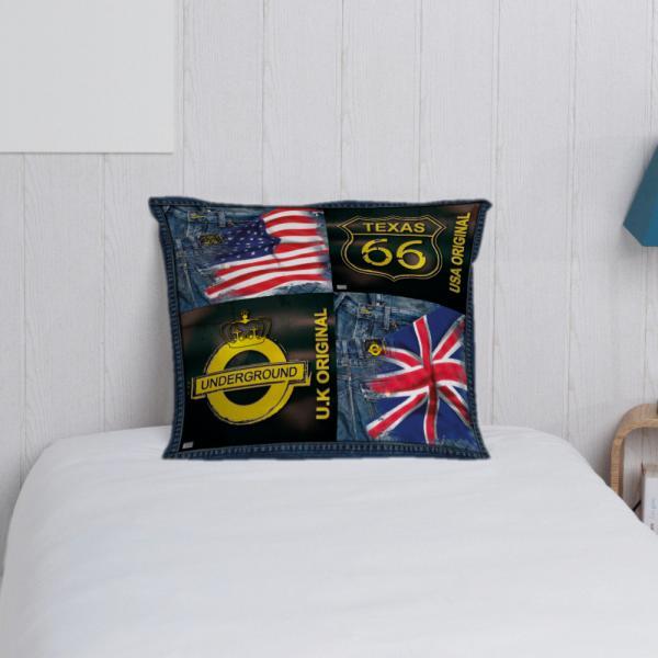 Taie d'oreiller drapeaux anglais et américain