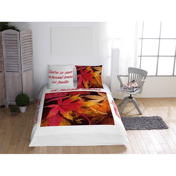 Parure de lit feuilles rouges