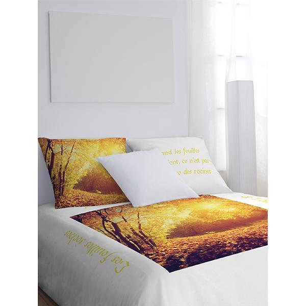 Parure de lit feuilles d'automne jaune