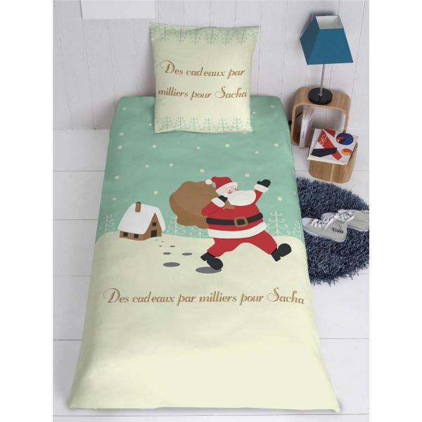 parure de lit housse oreiller personnalis p re no l decodeo. Black Bedroom Furniture Sets. Home Design Ideas