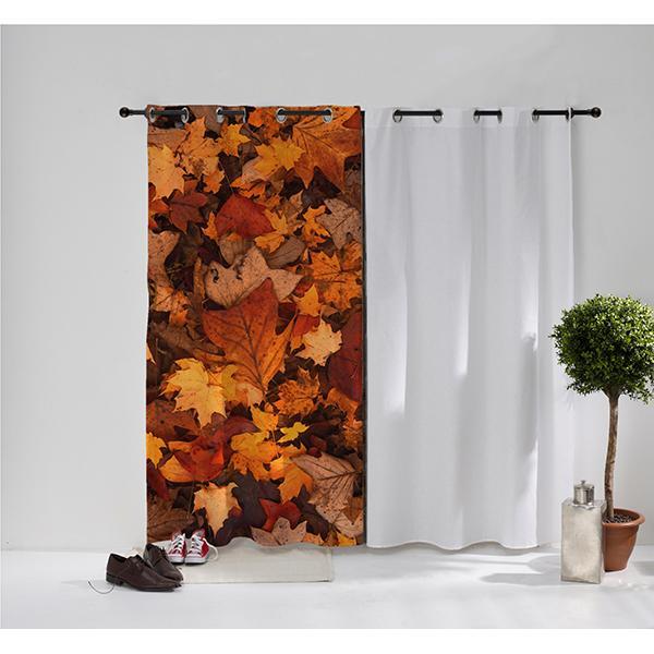 Rideau œillet tapis de feuilles automnale