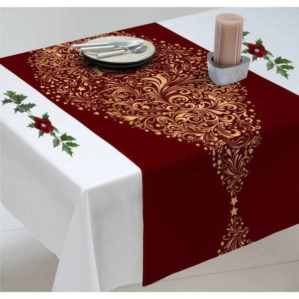 chemin de table de no l rouge avec des sapins dor s decodeo. Black Bedroom Furniture Sets. Home Design Ideas
