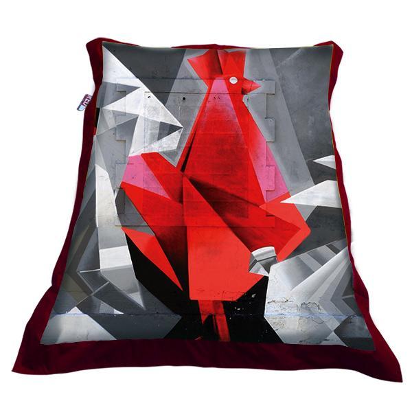 Maxi pouf street art fond rouge