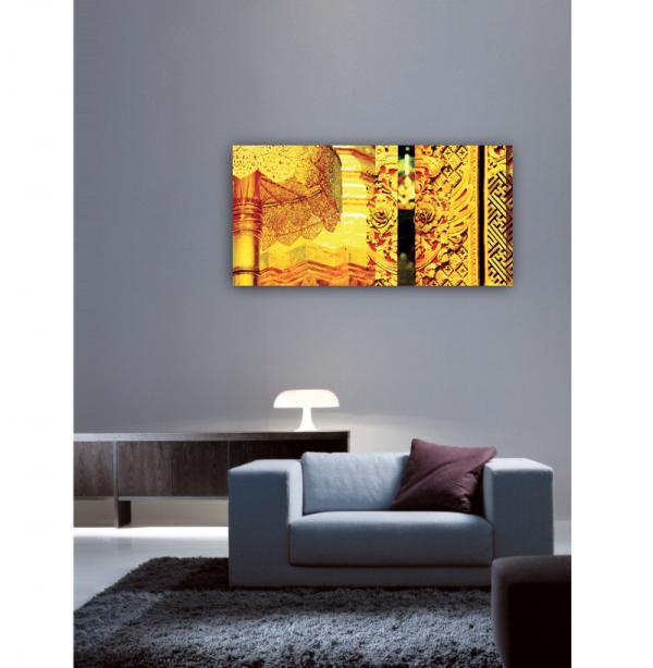 Tableau panoramique asiatique jaune