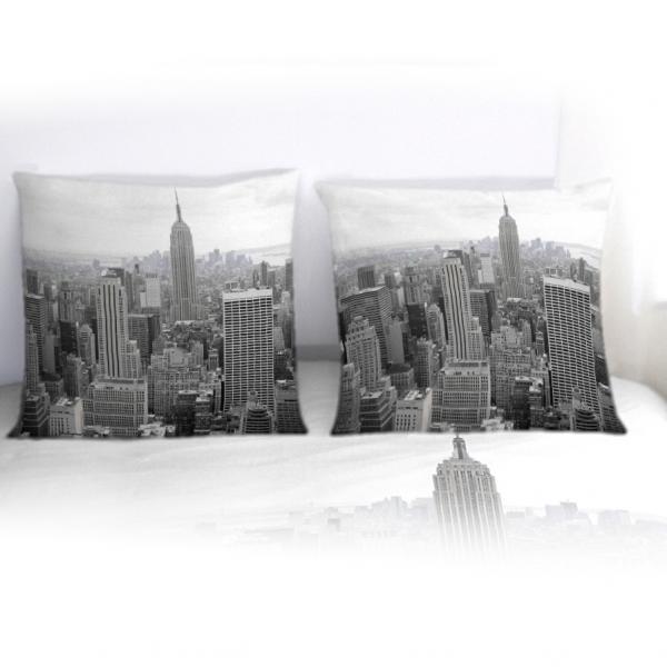 Taie d'oreiller New-York noir et blanc