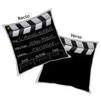 Coussin Clap cinema avec texte