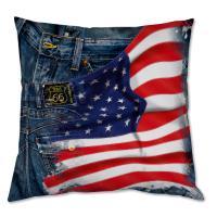 Coussin drapeau US et Jeans