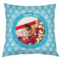Coussin personnalisé spécial Noël - motifs flocons bleu