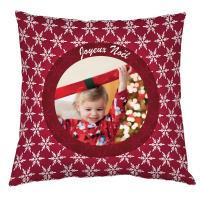 Coussin personnalisé spécial Noël - motifs flocons rouge